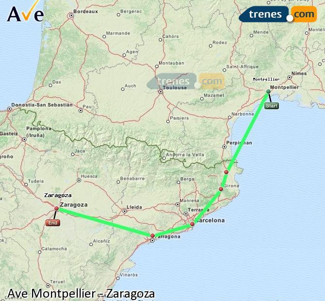 Ingrandisci la mappa AVE Montpellier Zaragoza