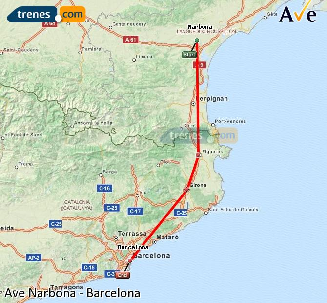 Enlarge map AVE Narbonne to Barcelona