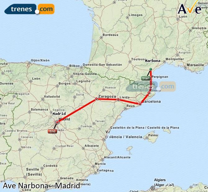 Ingrandisci la mappa AVE Narbona Madrid