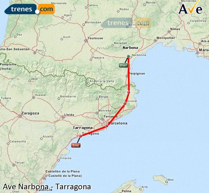 Enlarge map AVE Narbonne to Tarragona