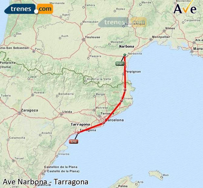 Ampliar mapa AVE Narbona Tarragona