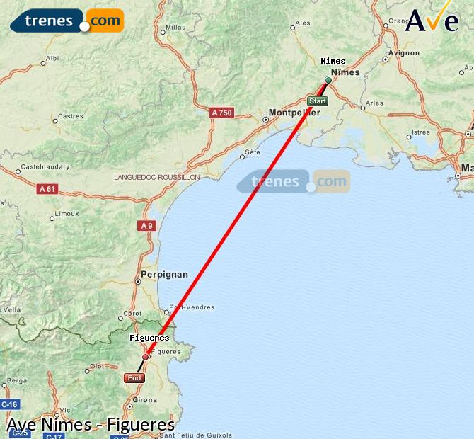 Enlarge map AVE Nimes to Figueres