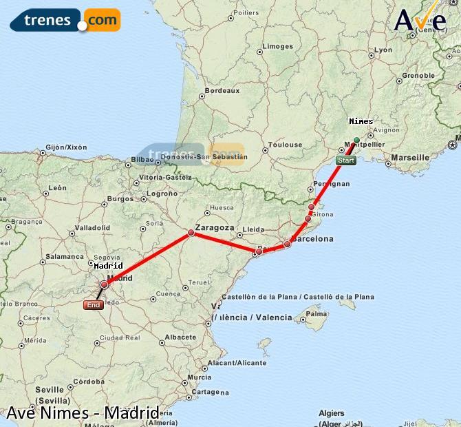 Ampliar mapa AVE Nimes Madrid