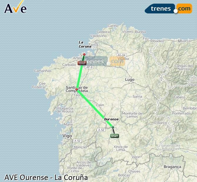 Ampliar mapa AVE Ourense La Coruña