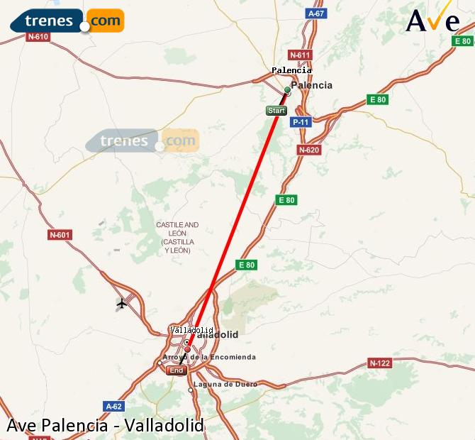 Enlarge map AVE Palencia to Valladolid