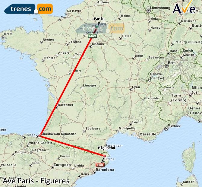 Enlarge map AVE Paris to Figueres