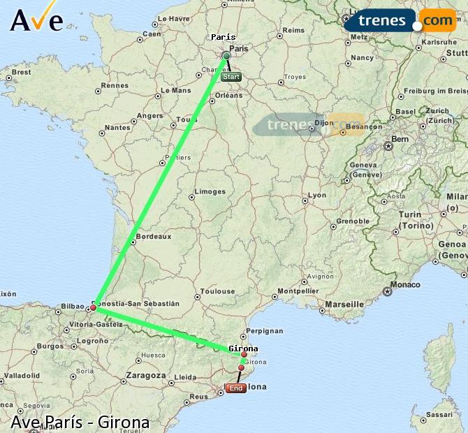 Enlarge map AVE Paris to Girona