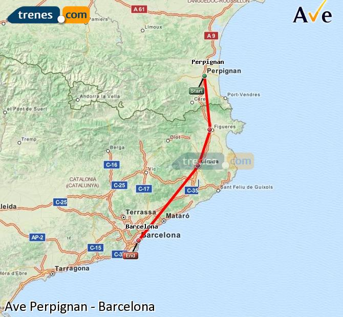 Enlarge map AVE Perpignan to Barcelona