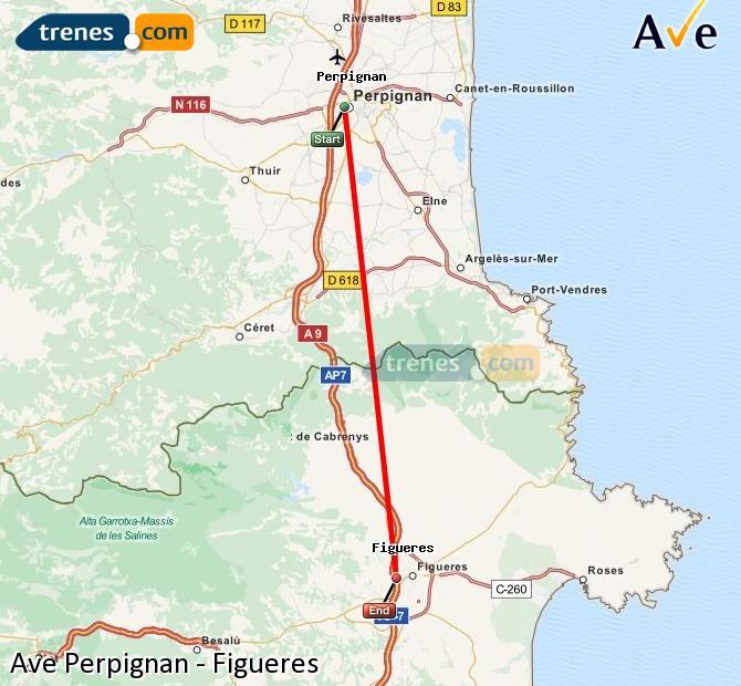 Ingrandisci la mappa AVE Perpignan Figueres