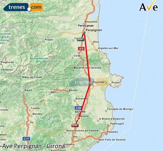 Karte vergrößern AVE Perpignan Girona