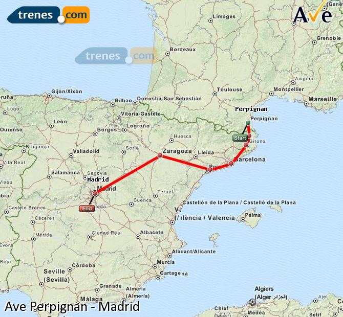 Enlarge map AVE Perpignan to Madrid