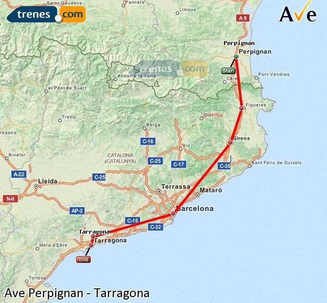 Ingrandisci la mappa AVE Perpignan Tarragona