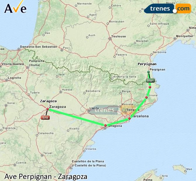 Enlarge map AVE Perpignan to Zaragoza