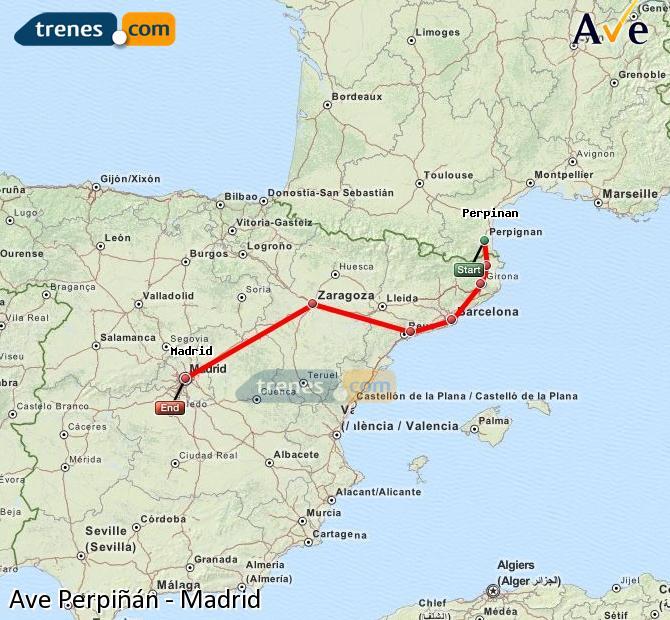 Ampliar mapa AVE Perpiñán Madrid