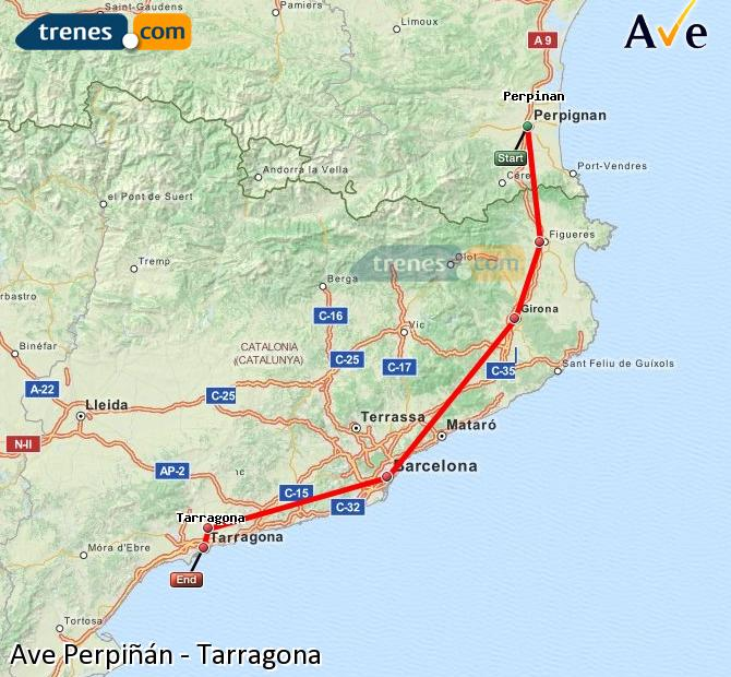 Ingrandisci la mappa AVE Perpiñán Tarragona