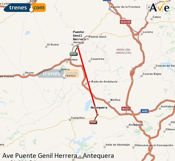Karte vergrößern AVE Puente Genil Herrera Antequera