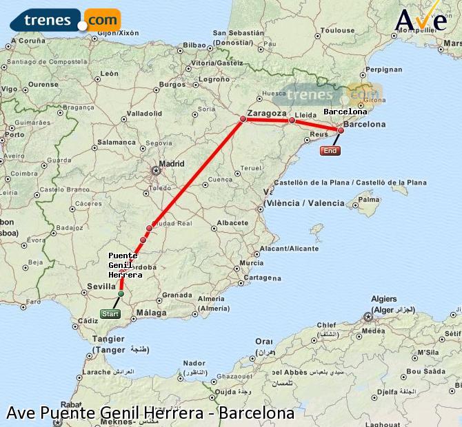 Agrandir la carte AVE Puente Genil Herrera Barcelone