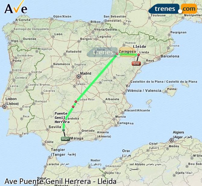Ampliar mapa AVE Puente Genil Herrera Lleida