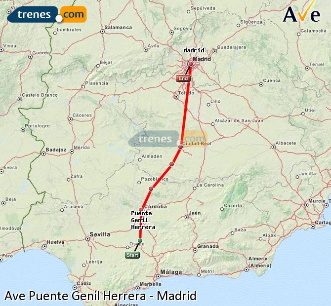 Karte vergrößern AVE Puente Genil Herrera Madrid