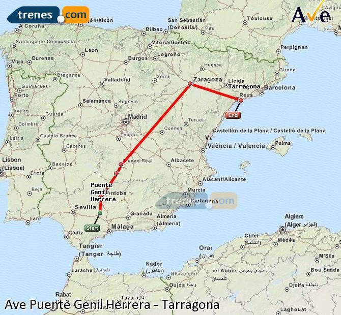 Agrandir la carte AVE Puente Genil Herrera Tarragone