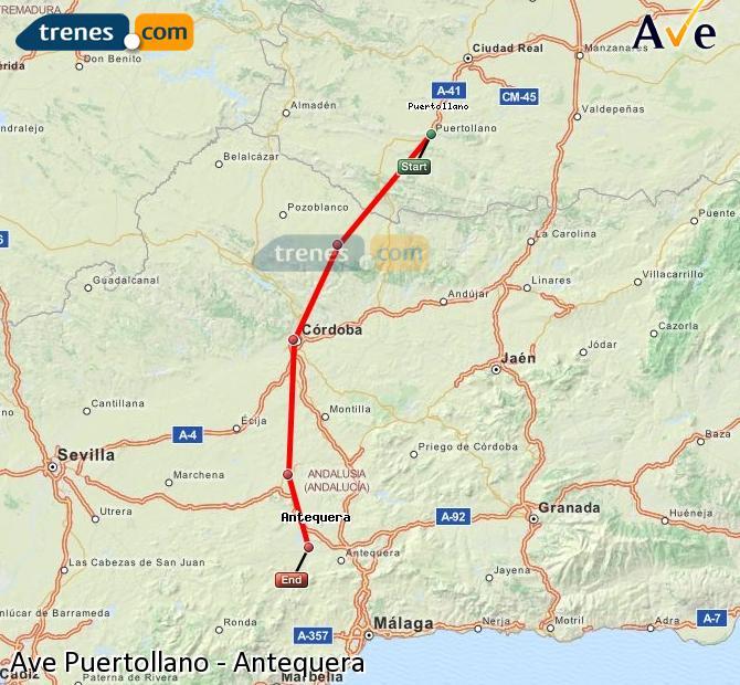 Karte vergrößern AVE Puertollano Antequera