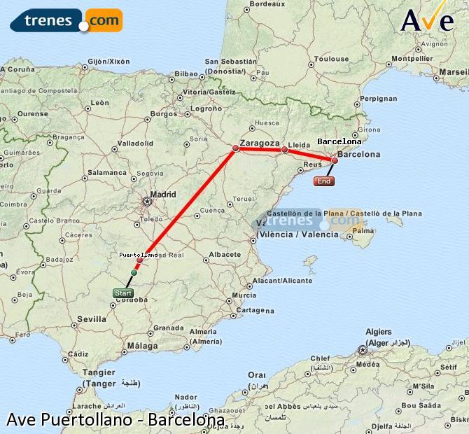 Ingrandisci la mappa AVE Puertollano Barcellona