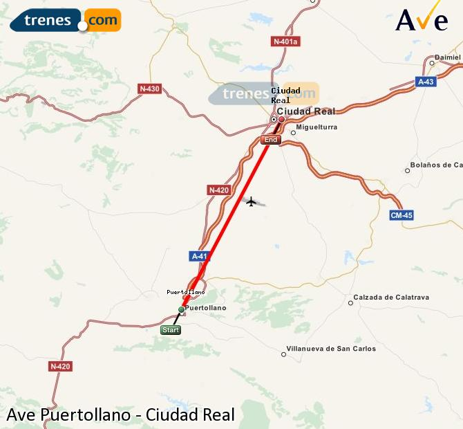 Enlarge map AVE Puertollano to Ciudad Real