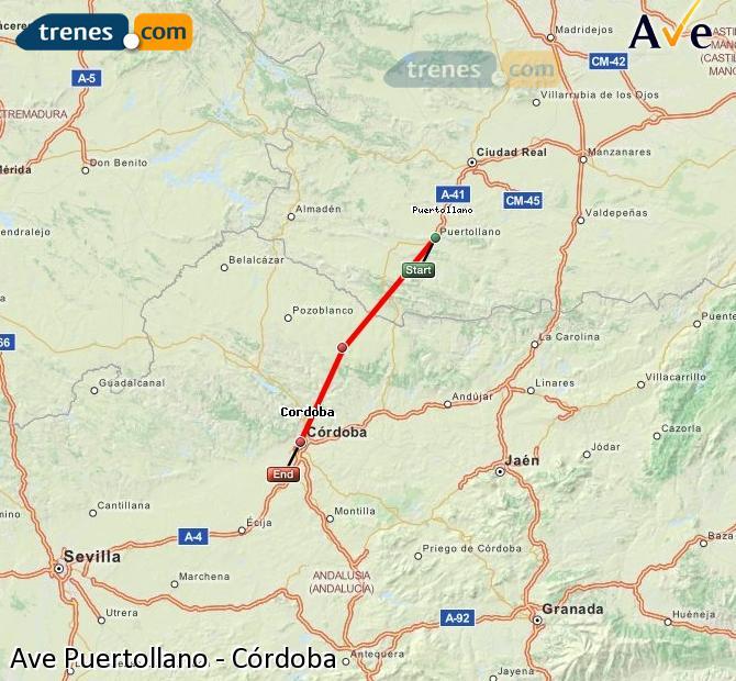 Karte vergrößern AVE Puertollano Córdoba