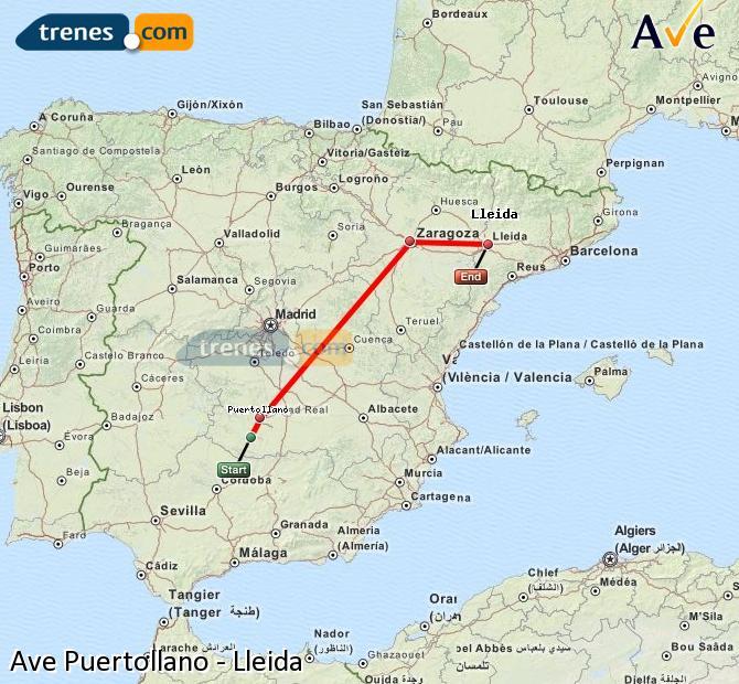 Karte vergrößern AVE Puertollano Lleida