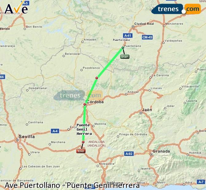 Karte vergrößern AVE Puertollano Puente Genil Herrera
