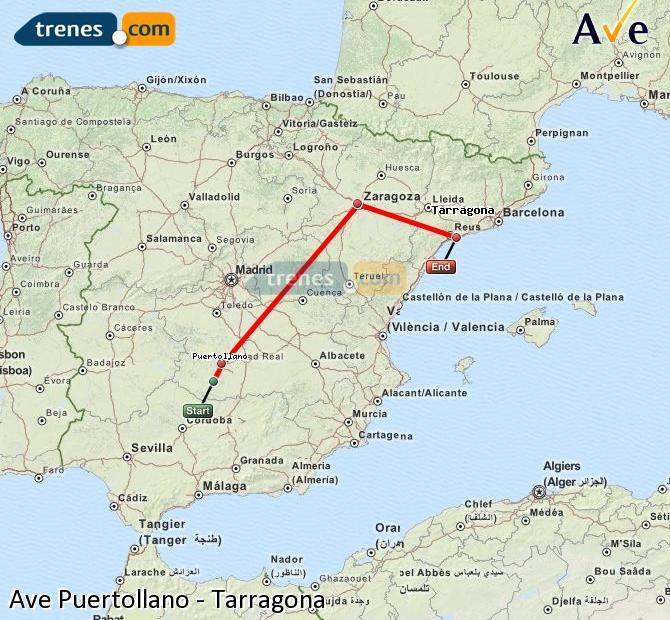 Ampliar mapa AVE Puertollano Tarragona