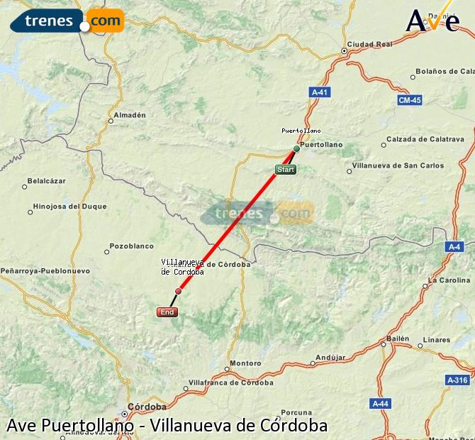 Enlarge map AVE Puertollano to Villanueva de Córdoba