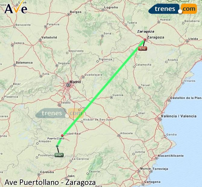 Karte vergrößern AVE Puertollano Zaragoza