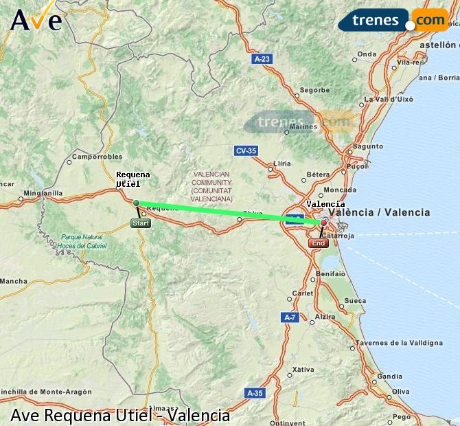 Enlarge map AVE Requena Utiel to Valencia