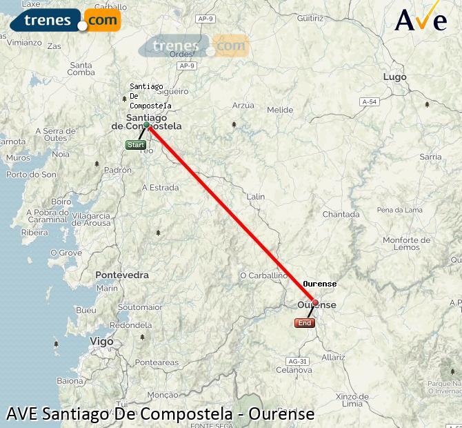 Ampliar mapa AVE Santiago De Compostela Ourense