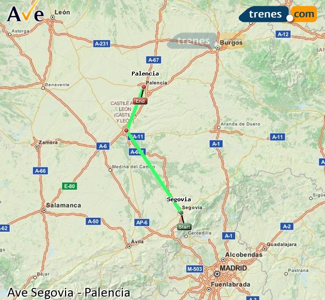 Enlarge map AVE Segovia to Palencia