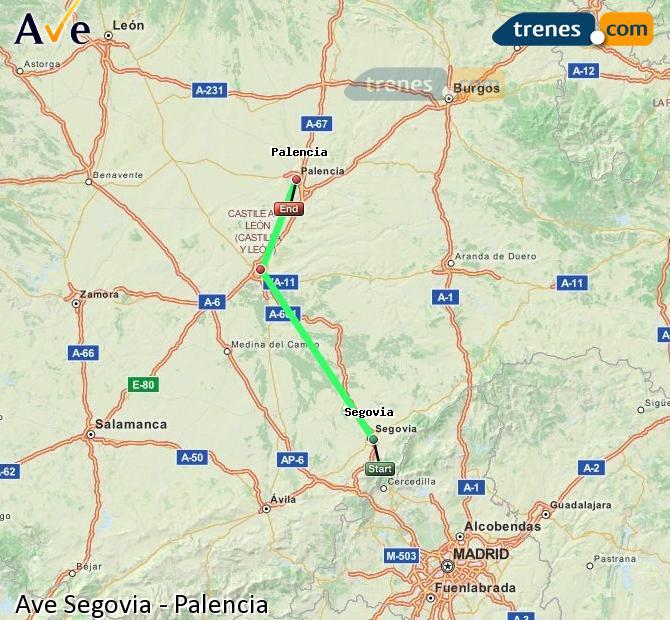 Agrandir la carte AVE Ségovie Palencia
