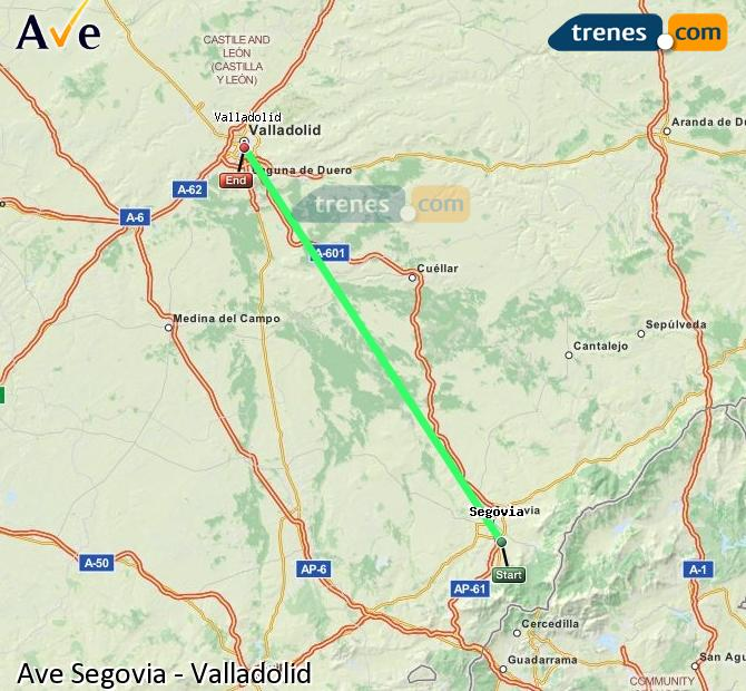 Agrandir la carte AVE Ségovie Valladolid