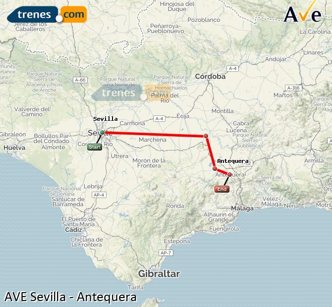 Ampliar mapa AVE Sevilla Antequera