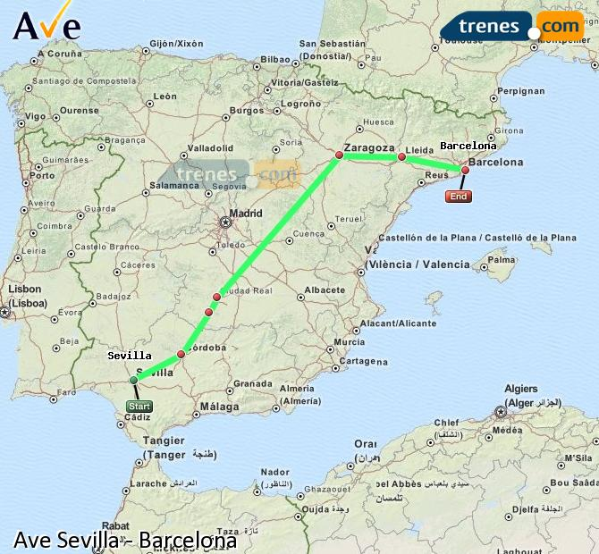 Enlarge map AVE Seville to Barcelona