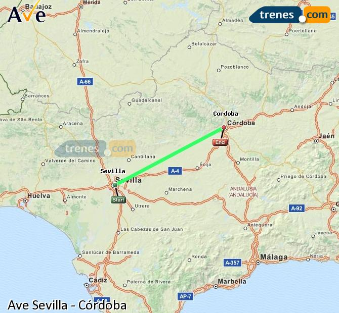 Enlarge map AVE Seville to Córdoba