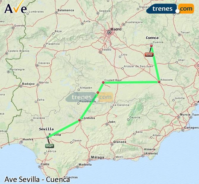 Agrandir la carte AVE Sevilla Cuenca