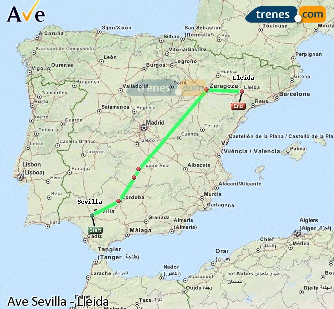 Enlarge map AVE Seville to Lleida