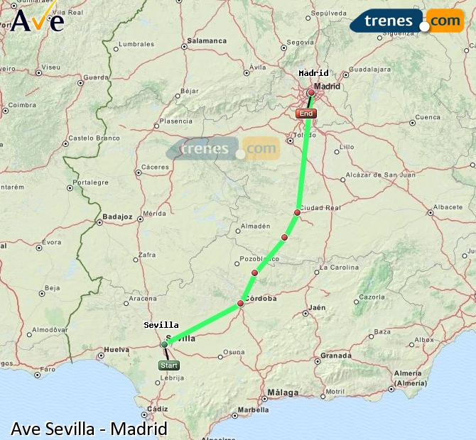 Enlarge map AVE Seville to Madrid