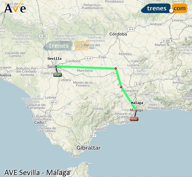 Ampliar mapa AVE Sevilla Málaga