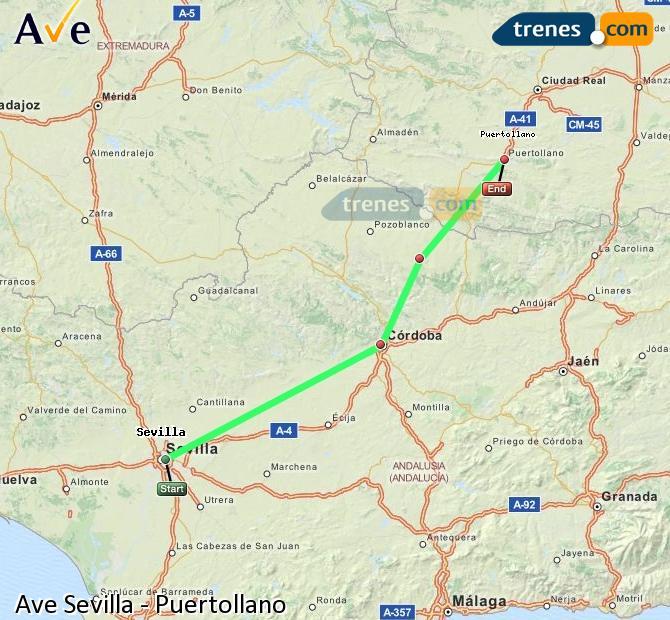 Ampliar mapa AVE Sevilla Puertollano