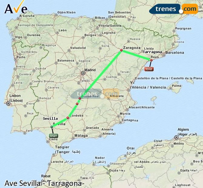 Enlarge map AVE Seville to Tarragona