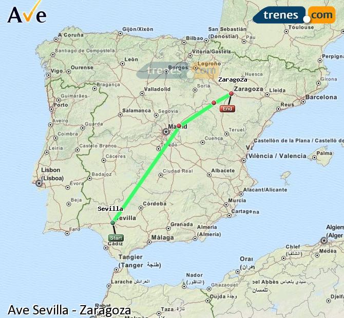 Ampliar mapa AVE Sevilla Zaragoza