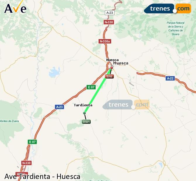 Enlarge map AVE Tardienta to Huesca