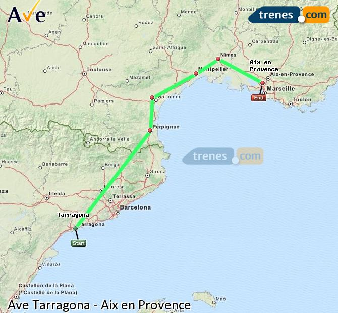 Enlarge map AVE Tarragona to Aix en Provence